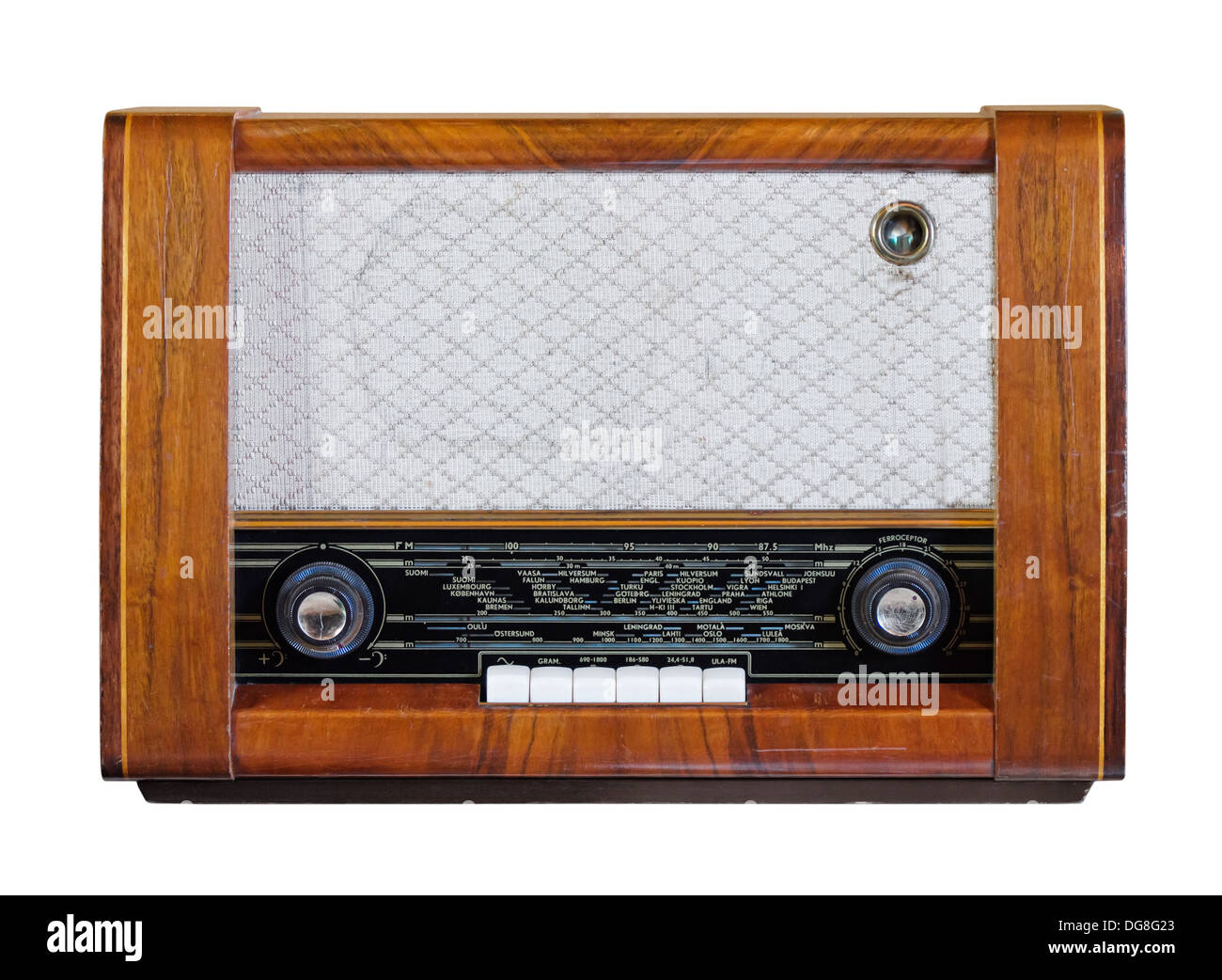 Old vintage radio from the 1950s isolated over white - Stock Image