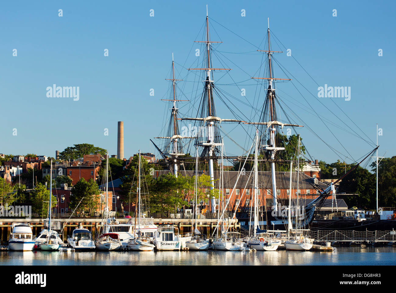 USS Constitution ('Old Ironsides'), Charlestown Naval Yard, Boston National Historical Park, Boston, Massachusetts USA - Stock Image