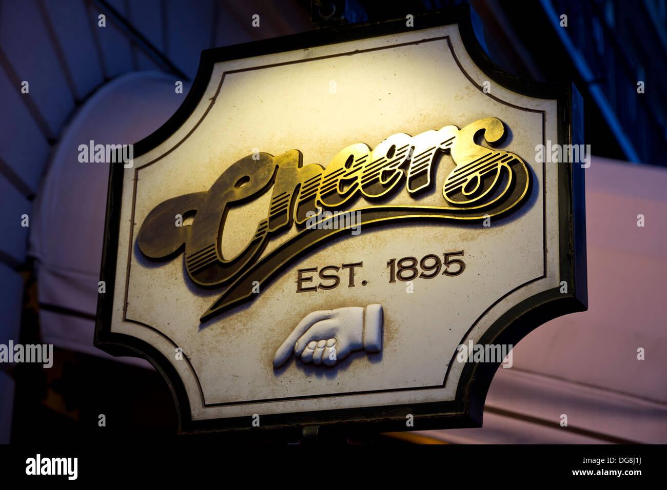 'Cheers' bar sign, Boston, Massachusetts USA - Stock Image