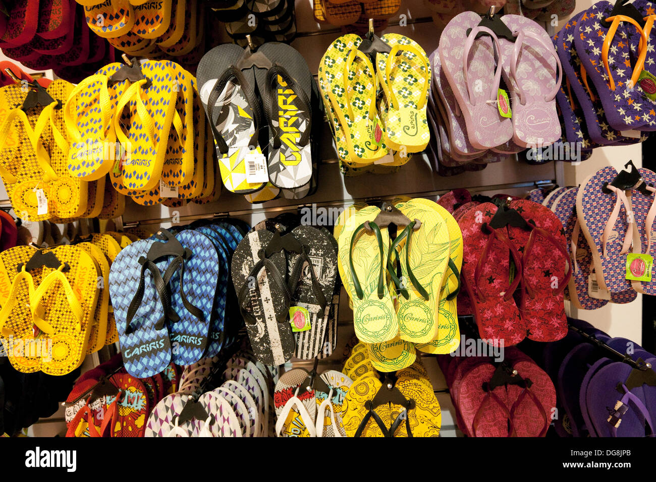 Flip flops for sale, Johannesburg airport shop, South Africa - Stock Image