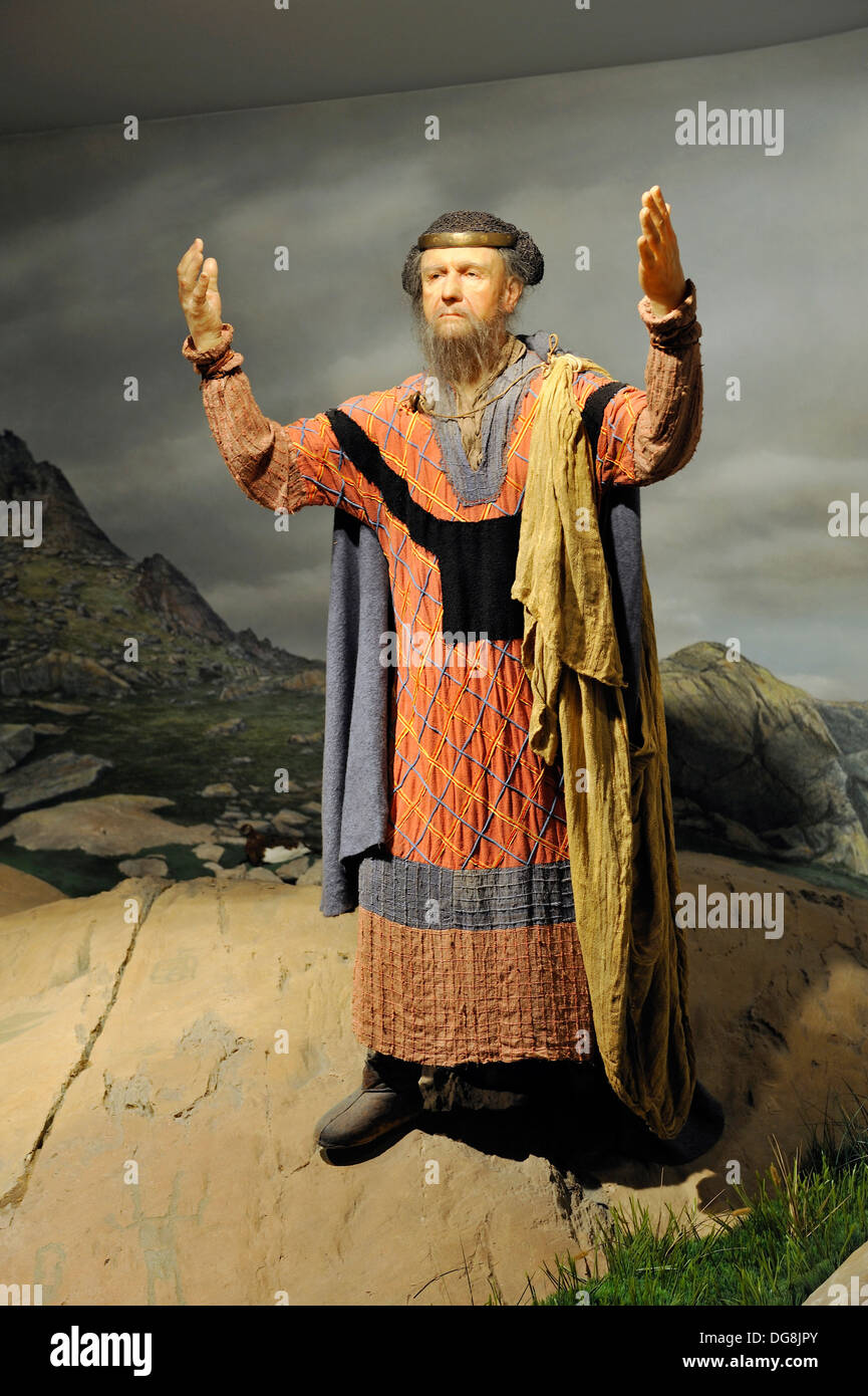 historical reconstruction, Museum of archaeology of Merveilles Tende Mercantour National Park Alpes-Maritimes department, - Stock Image