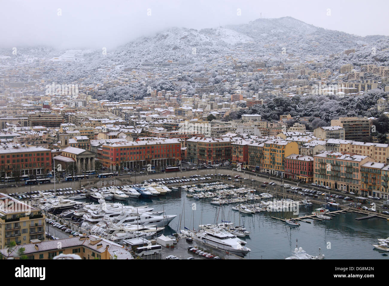 Top view above the harbor in winter time in Nice Alpes-Maritimes 06 cote d´azur PACA France Europe - Stock Image
