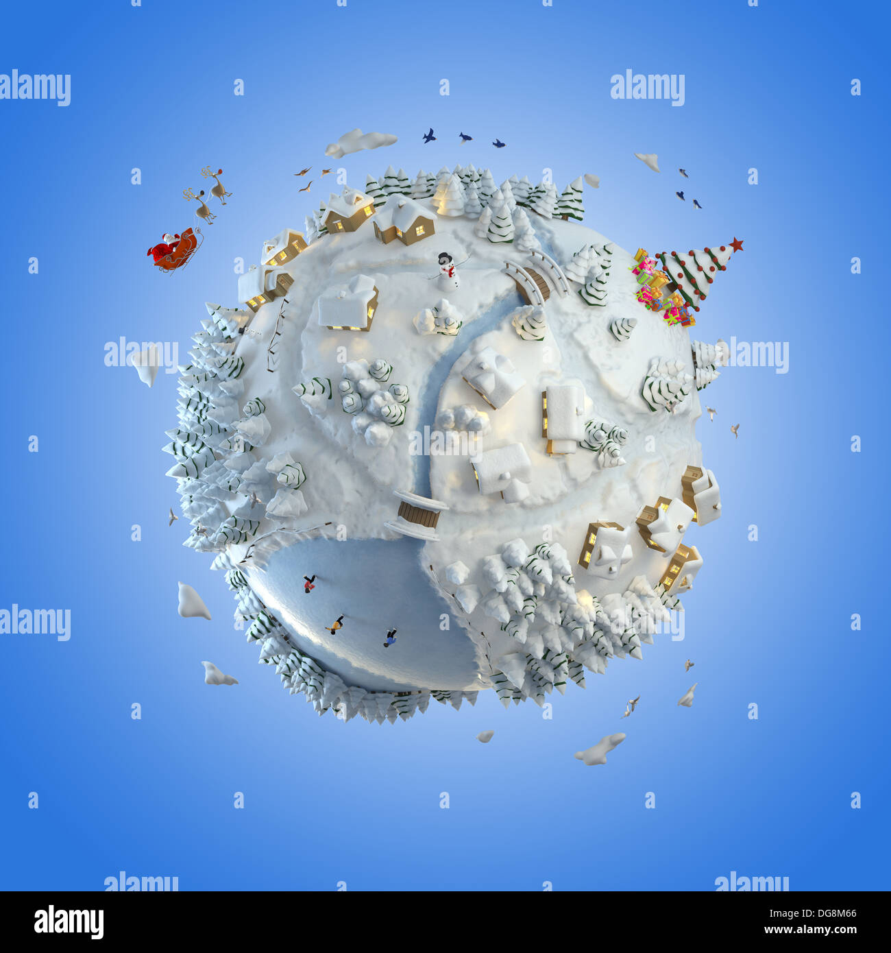 Concept globe showing a winter christmas planet with santa claus and tree clipping path included - Stock Image