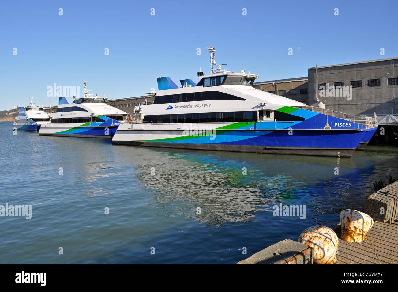San Francisco Bay ferry boats. - Stock Image