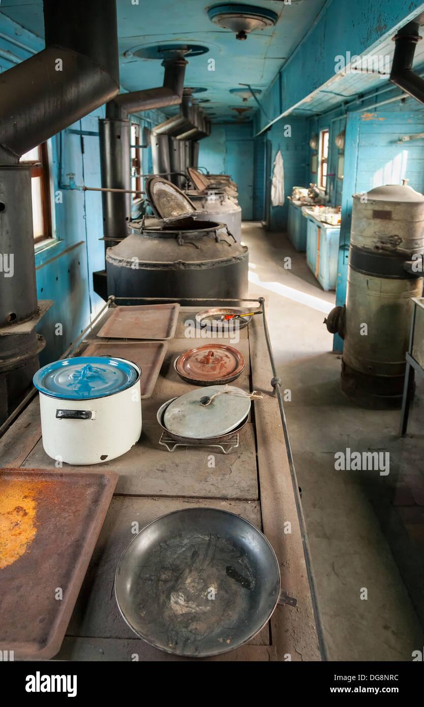 Interior of old railway wagon kitchen Stock Photo