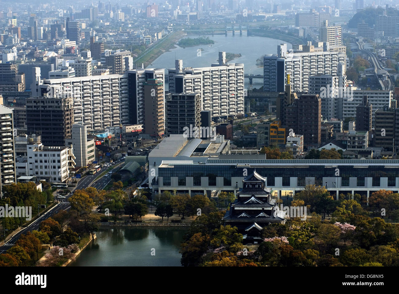 Feudal castle in the center of Hiroshima city Japan - Stock Image