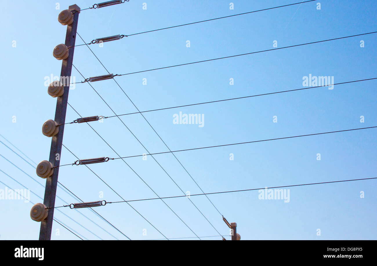 Cool Closeup Of Electric Fence Installation On Boundary Wall Against Blue Wiring Digital Resources Bioskbiperorg