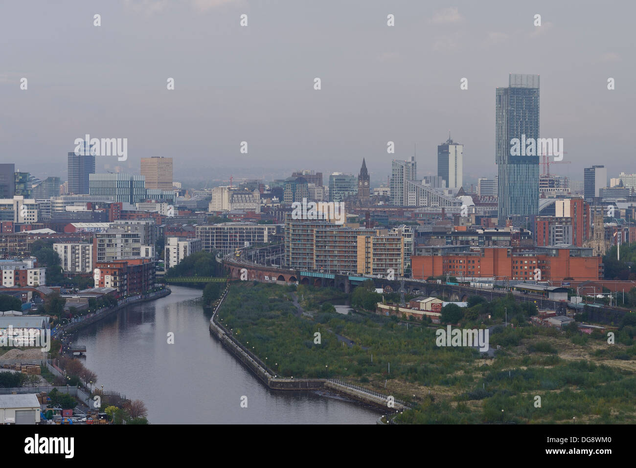 Manchester city centre landmark buildings and skyline including Beetham Tower and Town Hall - Stock Image