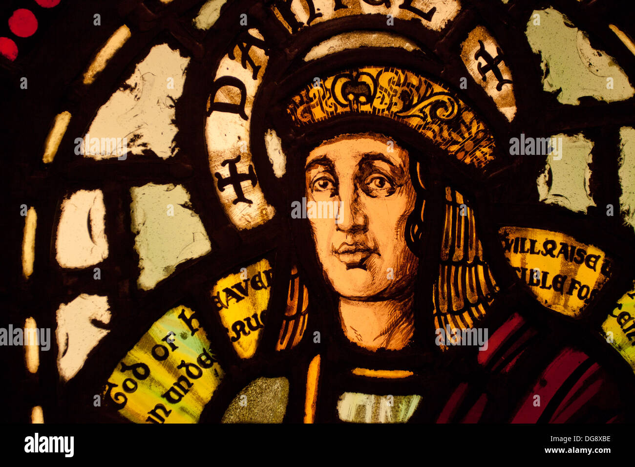 Stained glass figure, St Magnus cathedral, Kirkwall, Orkney UK - Stock Image