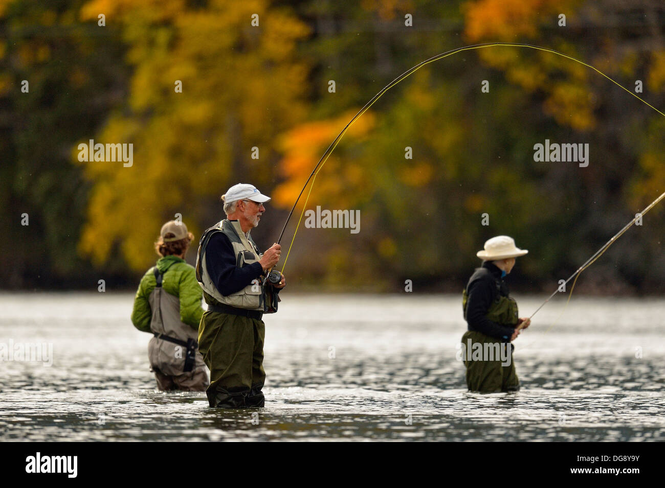Guided fly fishing for trout Chilcotin Wilderness, BC Interior, Canada - Stock Image