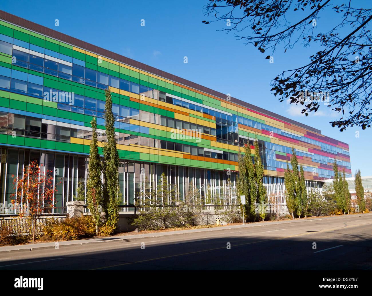The colorful Edmonton Clinic Health Academy on the campus of the University of Alberta in Edmonton, Alberta, Canada. - Stock Image
