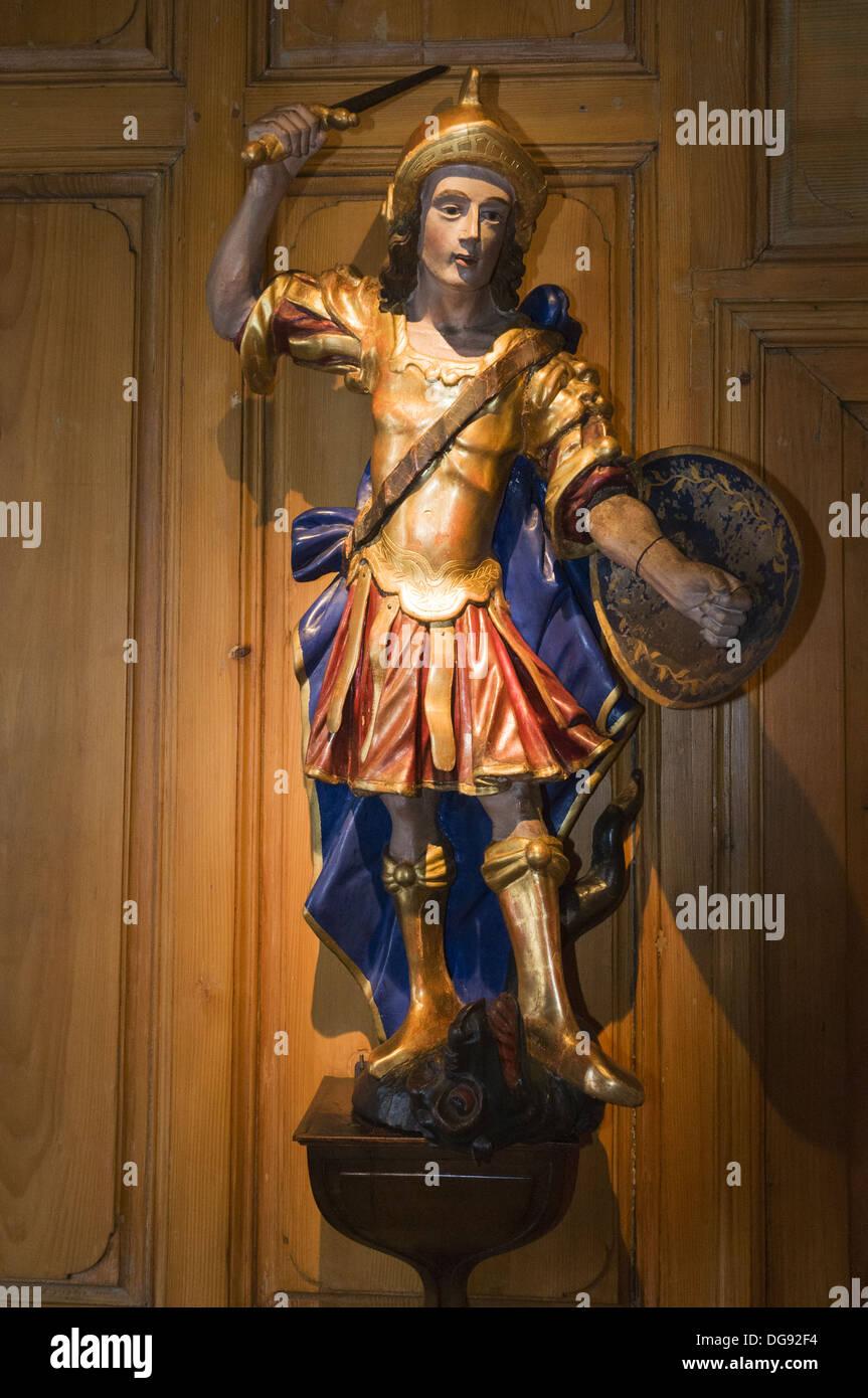 Elk213-1350v France, Alsace, Strasbourg, Alsatian Museum, wood statue - Stock Image