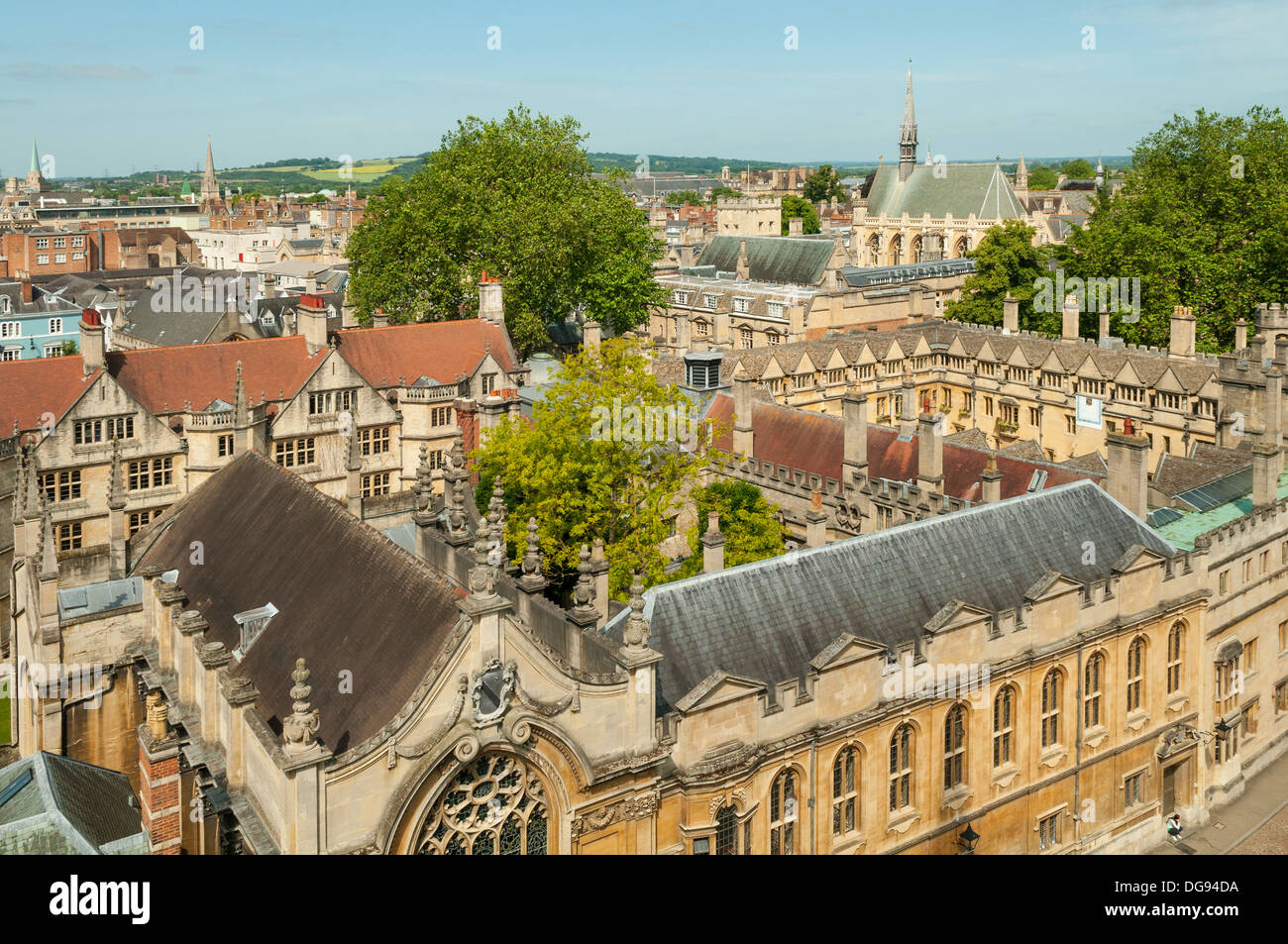 Brasenose College from St Mary's Tower, Oxford, Oxfordshire, England - Stock Image