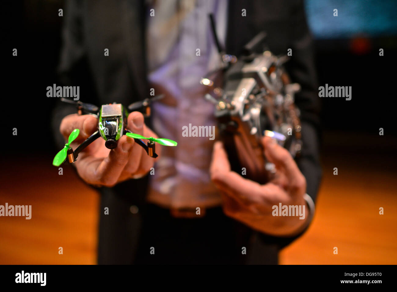 Eirik Solheim, from the Norweigan Broadcasting Corporation, flying a miniature quadcopter using First-person view (FPV) - Stock Image