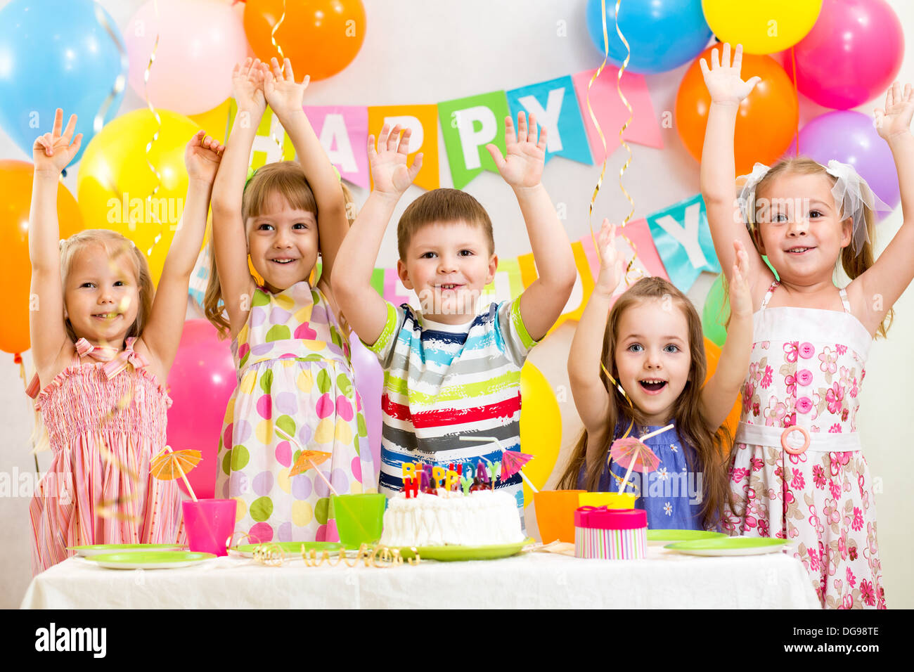 happy kids celebrating birthday holiday - Stock Image