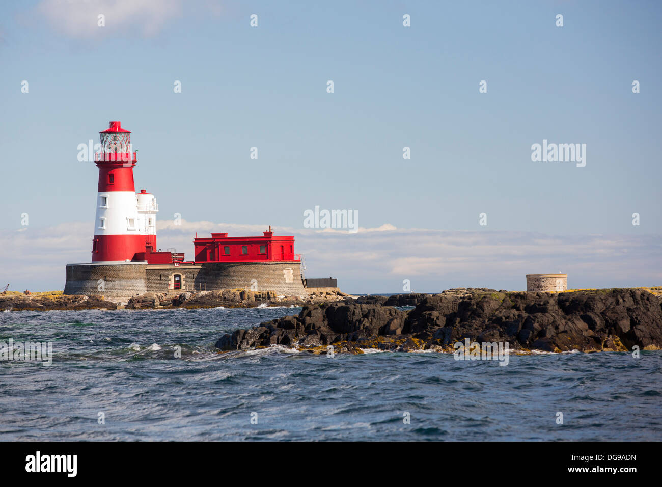 Longstone lighthouse on the Farnes Islands, off Seahouses in Northumberland, from where Grace Darling made her famous Stock Photo