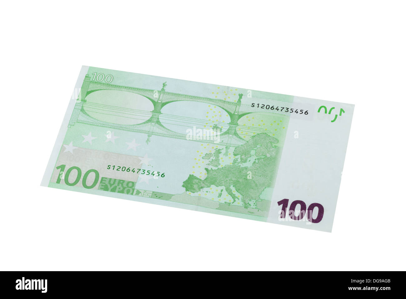 One hundred Euro banknote on a white background - Stock Image