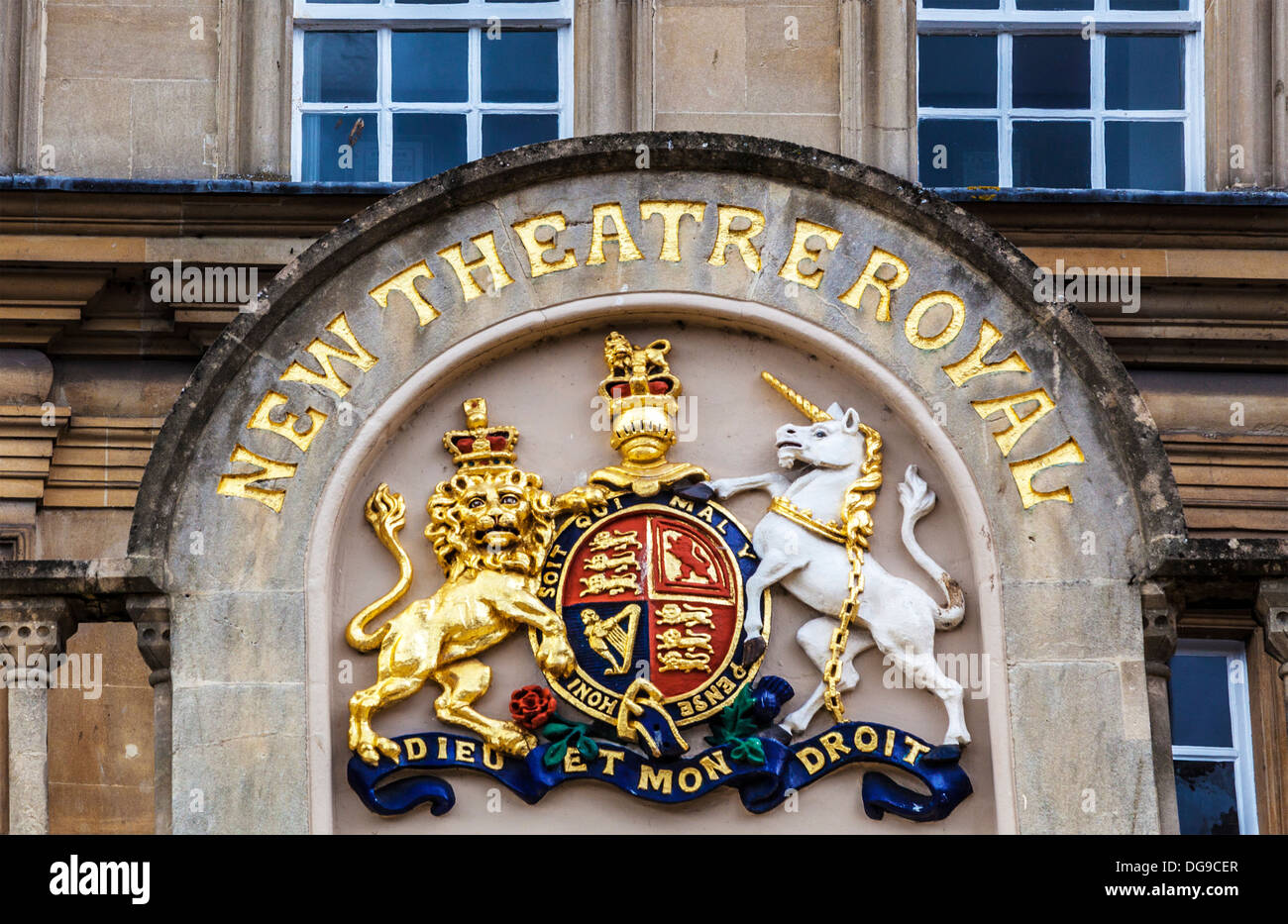The Royal Coat of Arms above the entrance to the New Theatre Royal in Bath, UK. - Stock Image