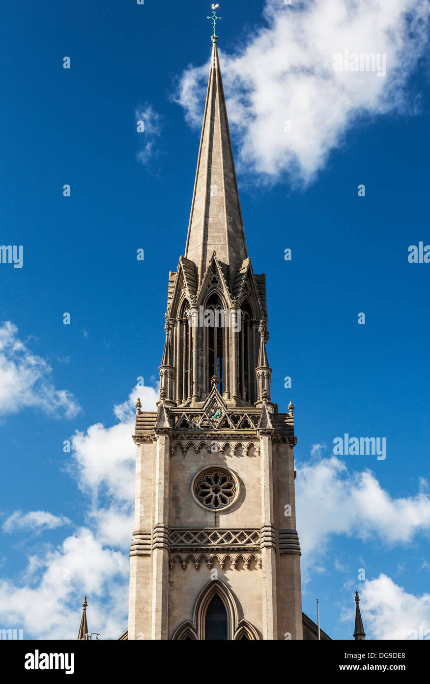 South or 'W' tower topped by tall octagonal open lantern with spire flanked by polygonal porches of St. Michael's Church, Bath. - Stock Image