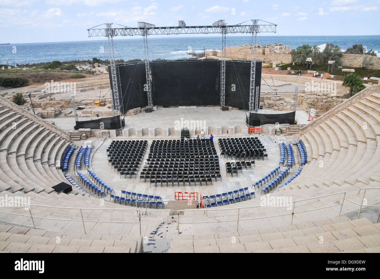 Israel, Caesarea, The amphitheater, on the city's southern shore Currently used for open air performances - Stock Image