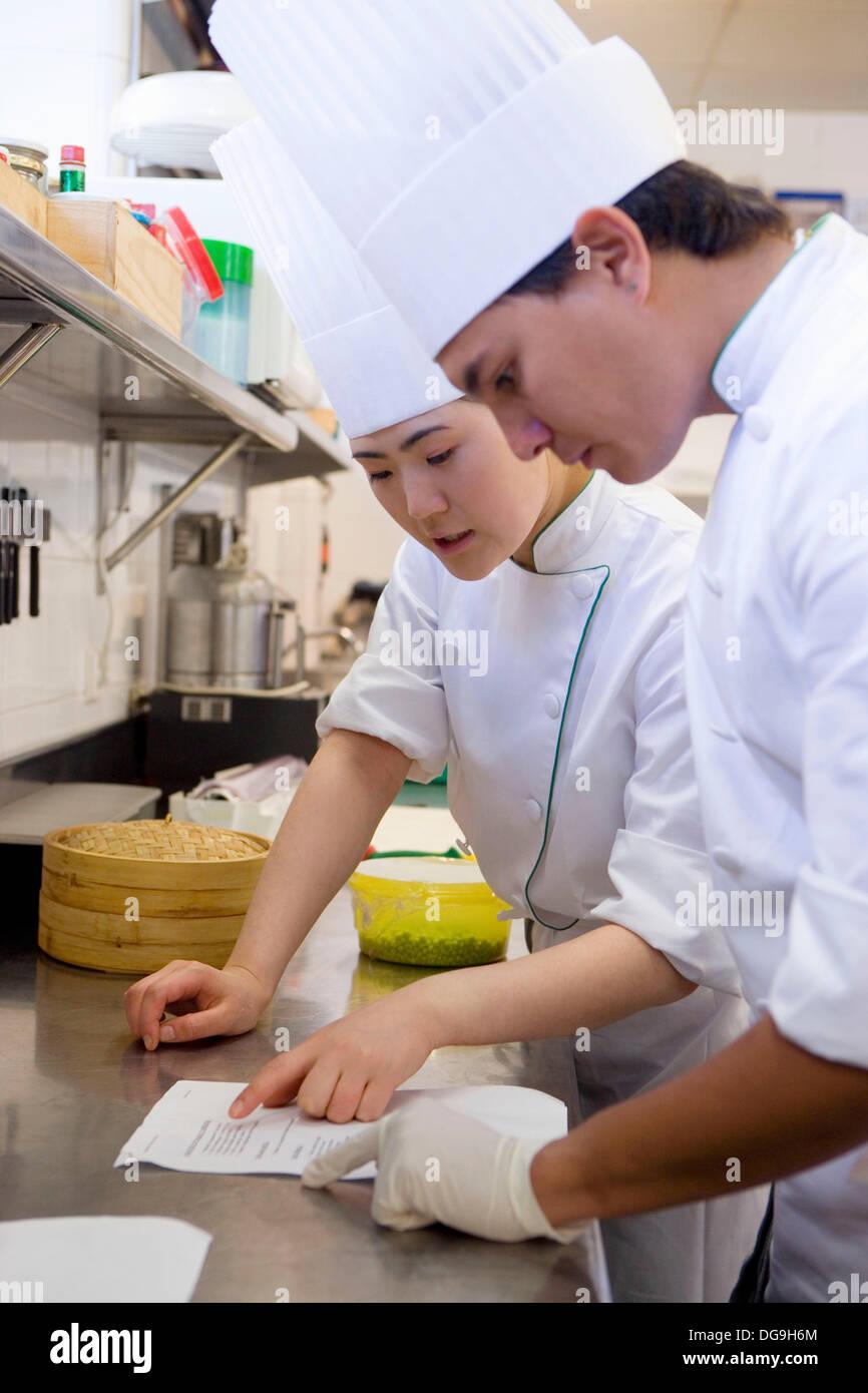 Chefs, menus. Luis Irizar cooking school. Donostia, Gipuzkoa, Basque Country, Spain - Stock Image