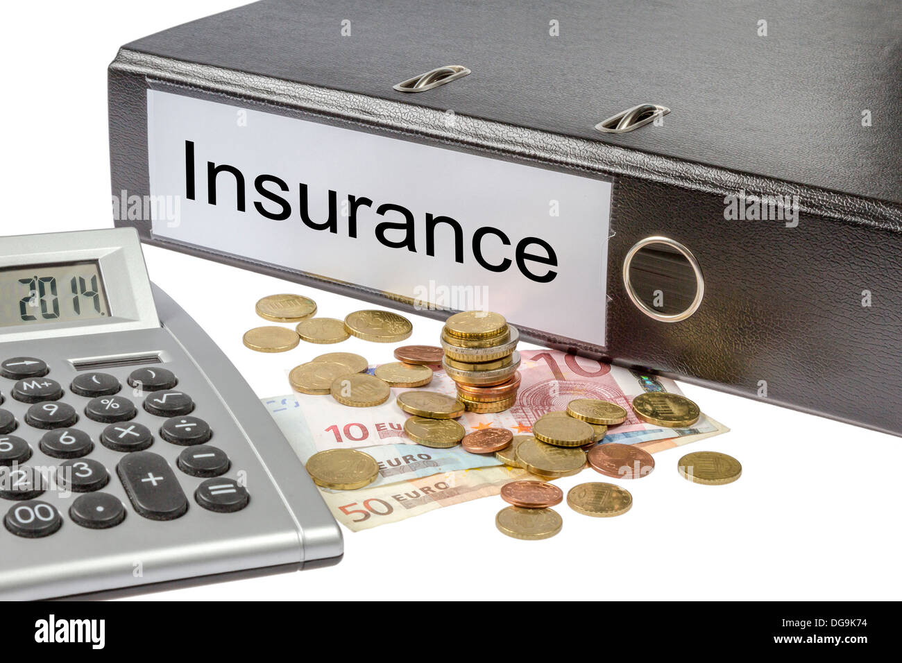 A Binder labeled wit the word insurance, calculator and european currency isolated on white background Stock Photo