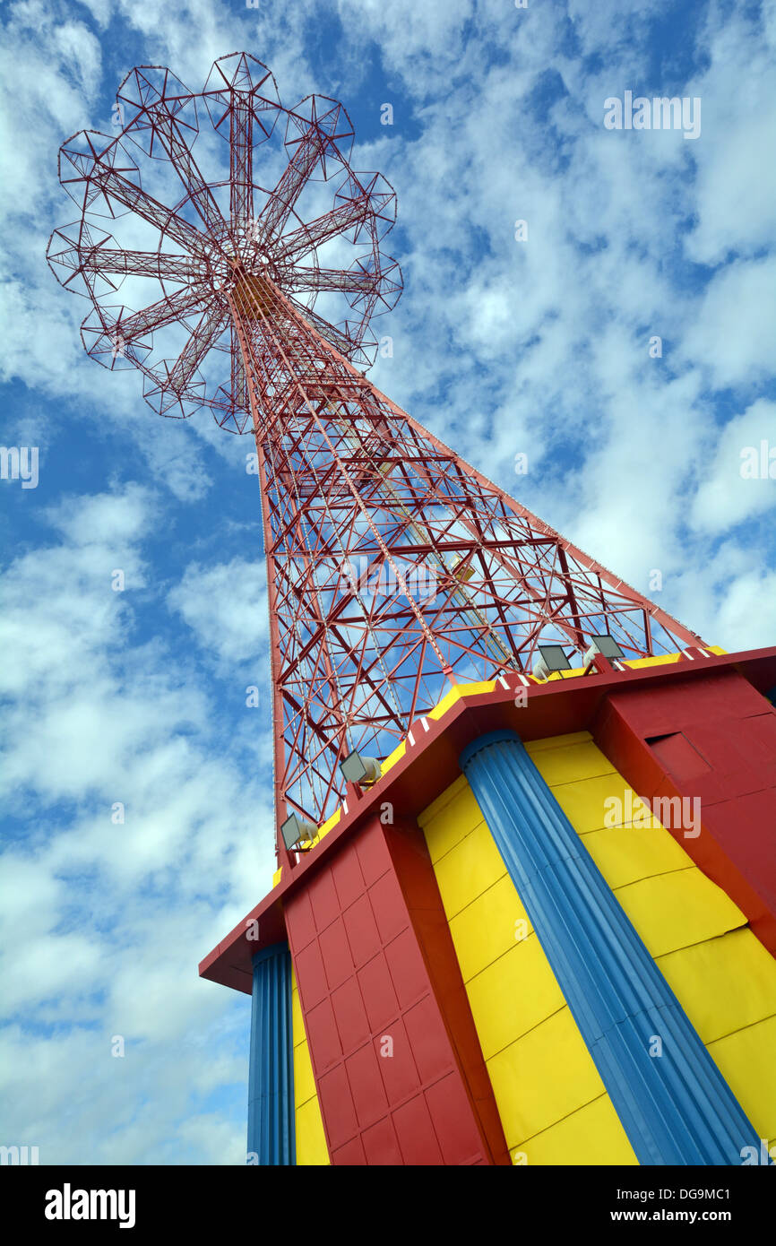 The Parachute Jump in Coney Island known as the Eiffel Tower of Brooklyn photographed against a cloud filled sky. Stock Photo