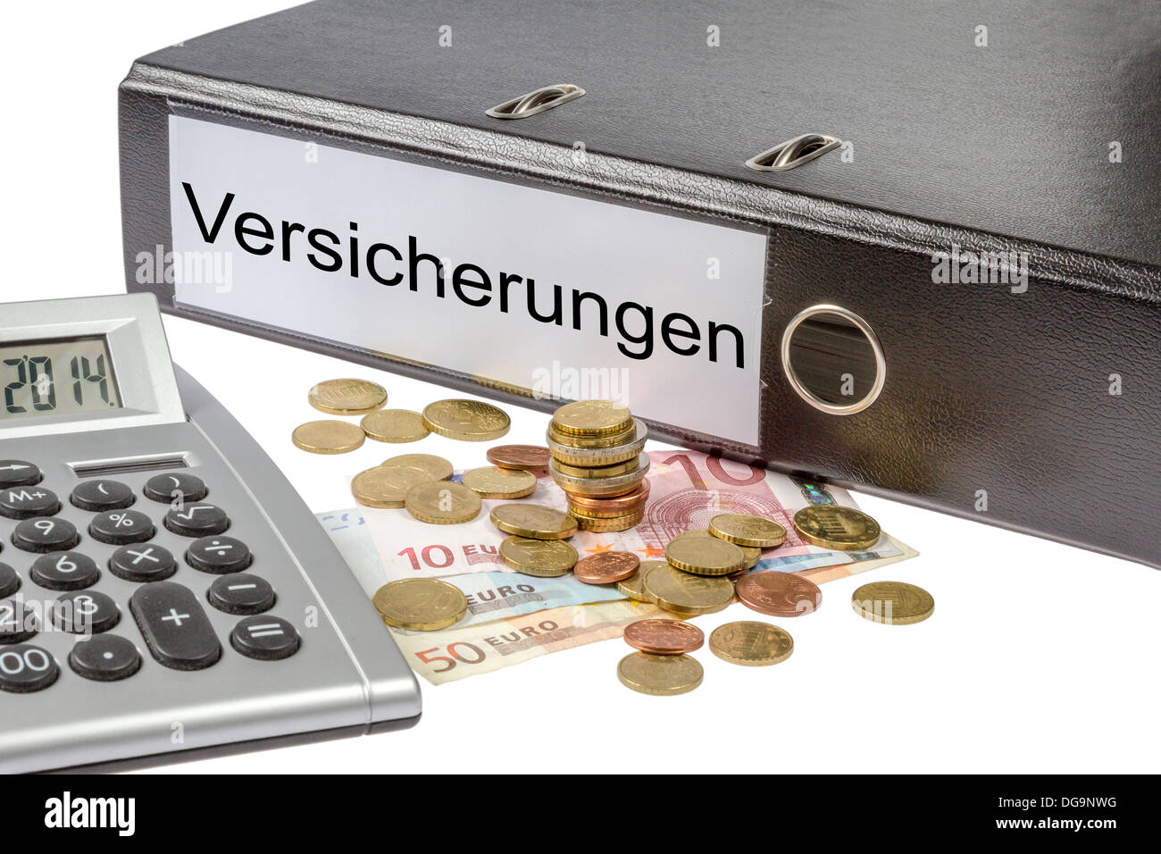 A Binder labeled wit the word Versicherungen (German insurance), calculator and european currency isolated on white Stock Photo