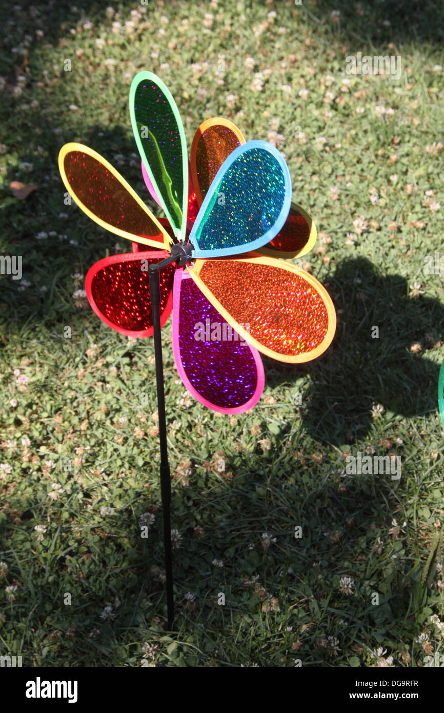 Colourful Toy Wind Fans In Garden