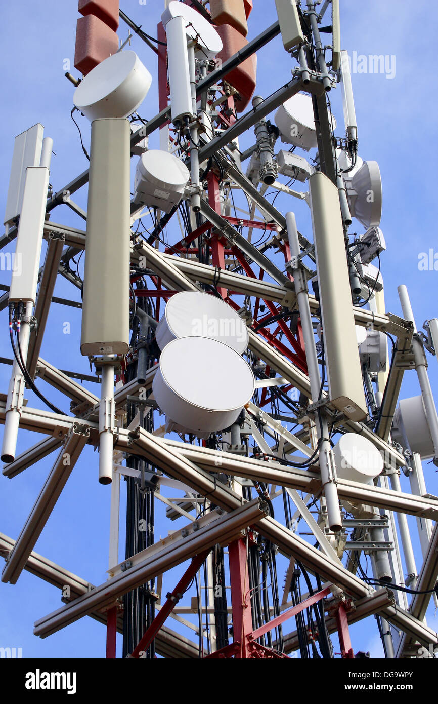 Telephone and television repeater towers - Stock Image