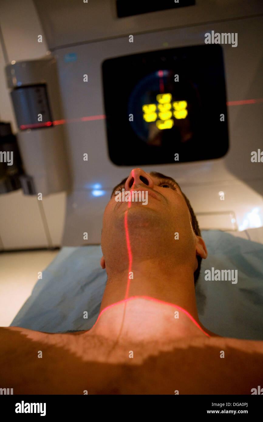 Linear accelerator, radiation therapy oncology. Hospital Universitario de Gran Canaria Doctor Negrin, Las Palmas de Gran - Stock Image