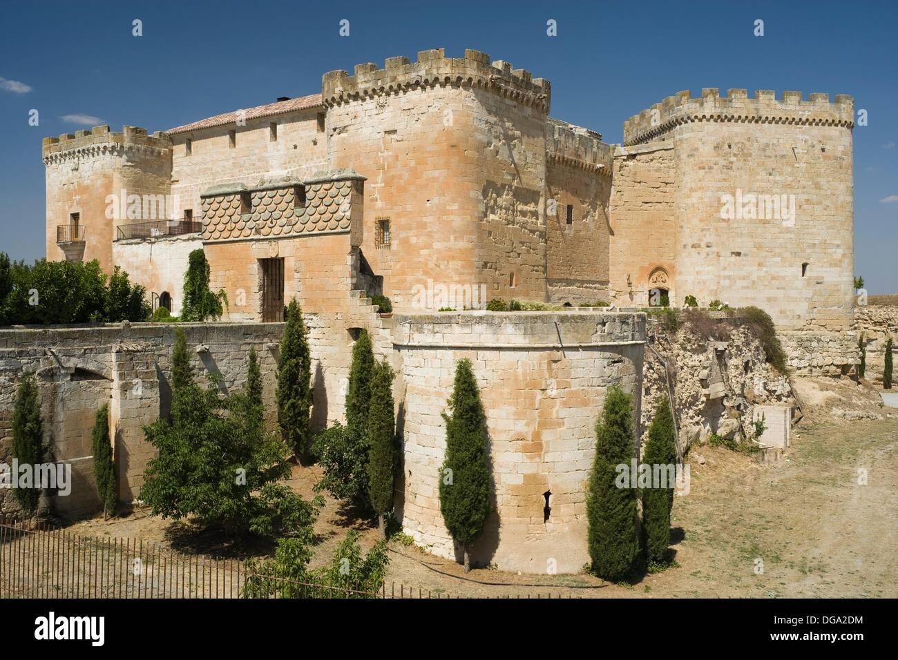 Good love Castle, Castillo del buen Amor, Actually a hotel, Villanueva del Cañedo, Topas, Salamanca province, Castilla y León, - Stock Image