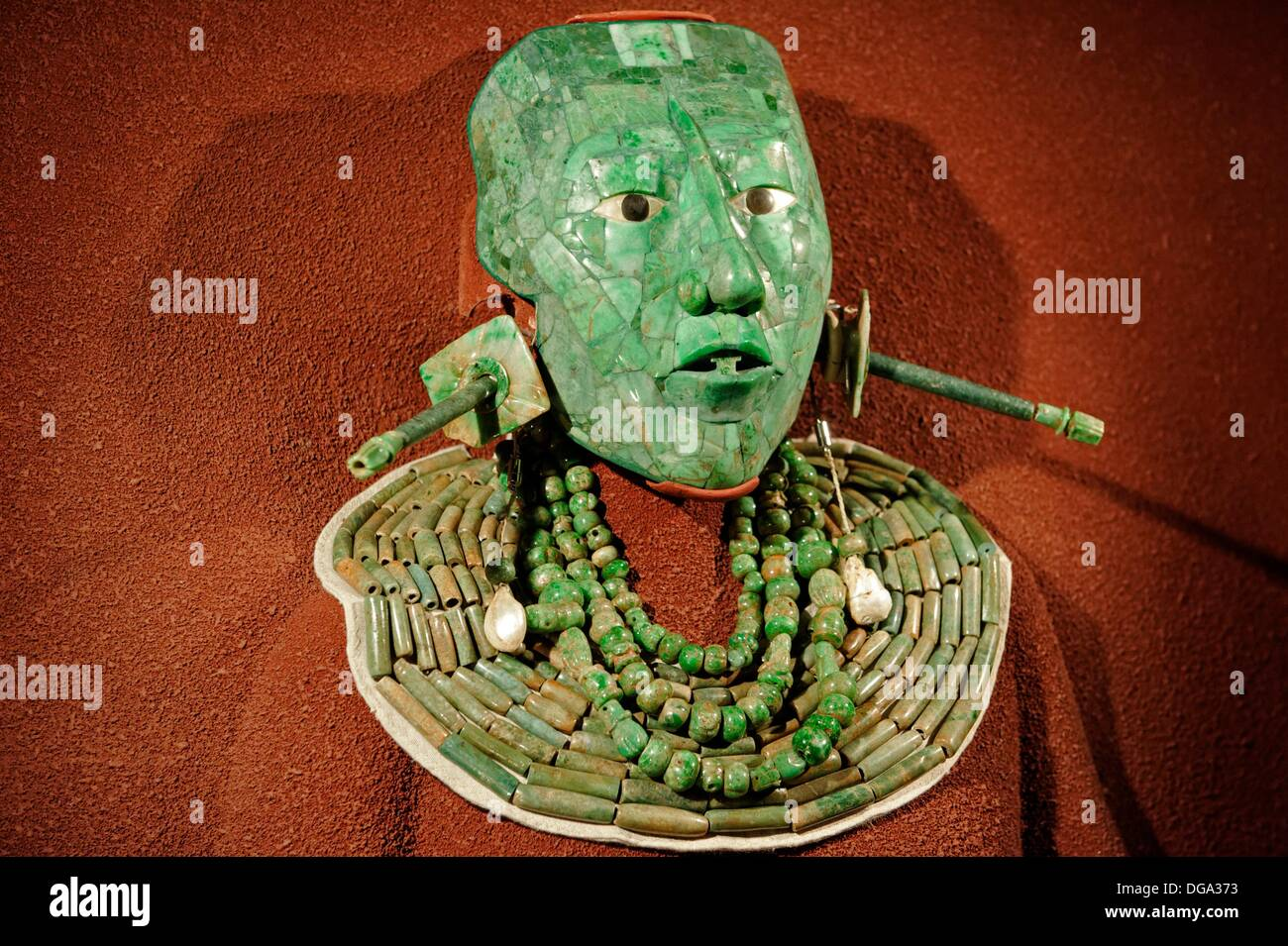 Jade death mask of Mayan king Pacal Maya Culture. The National Museum of Anthropology Museo Nacional de Antropología. Mexico - Stock Image