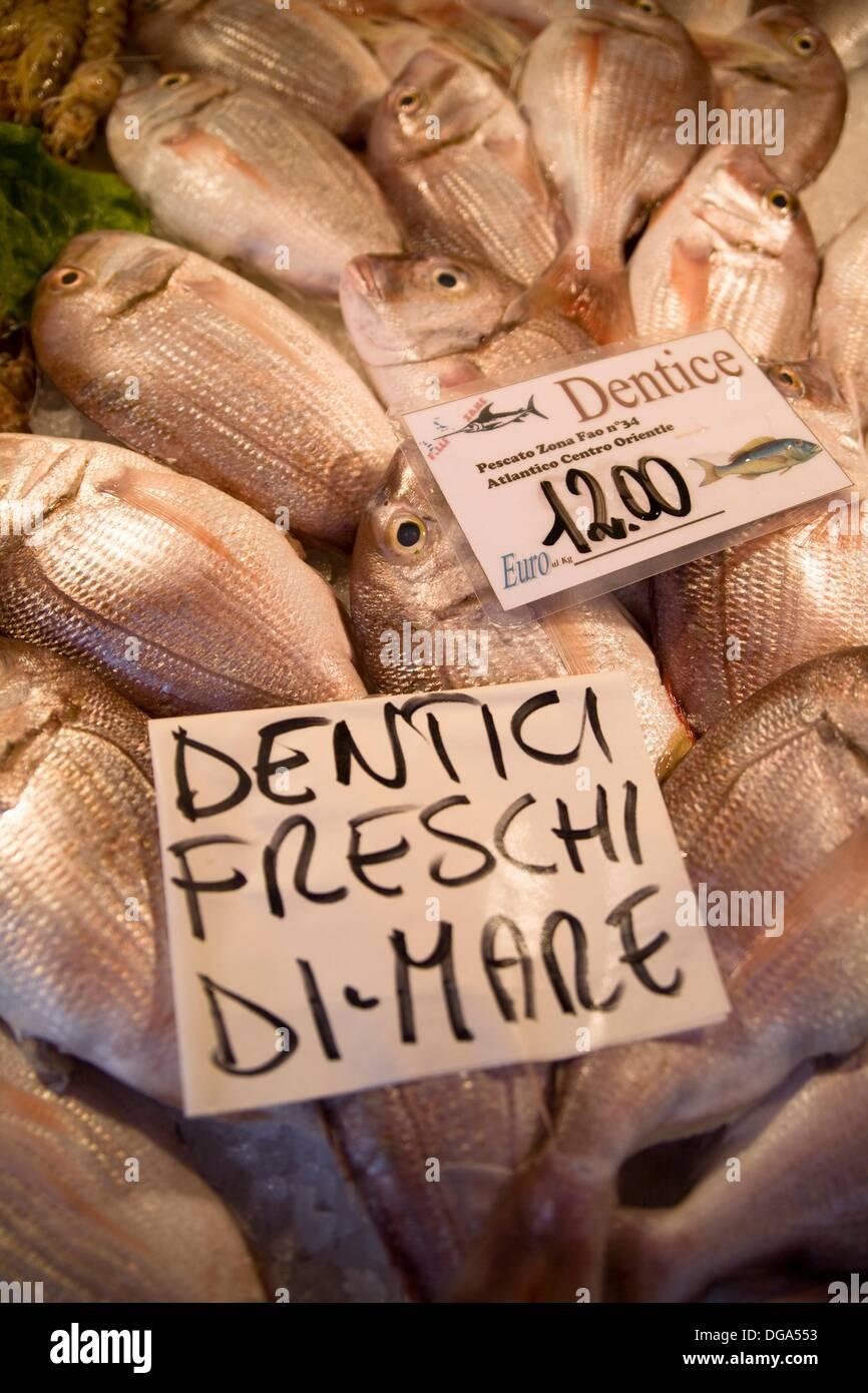 Image description Fish Market, Rialto Markets, Venice, Venezia, Italy, Europe - Stock Image