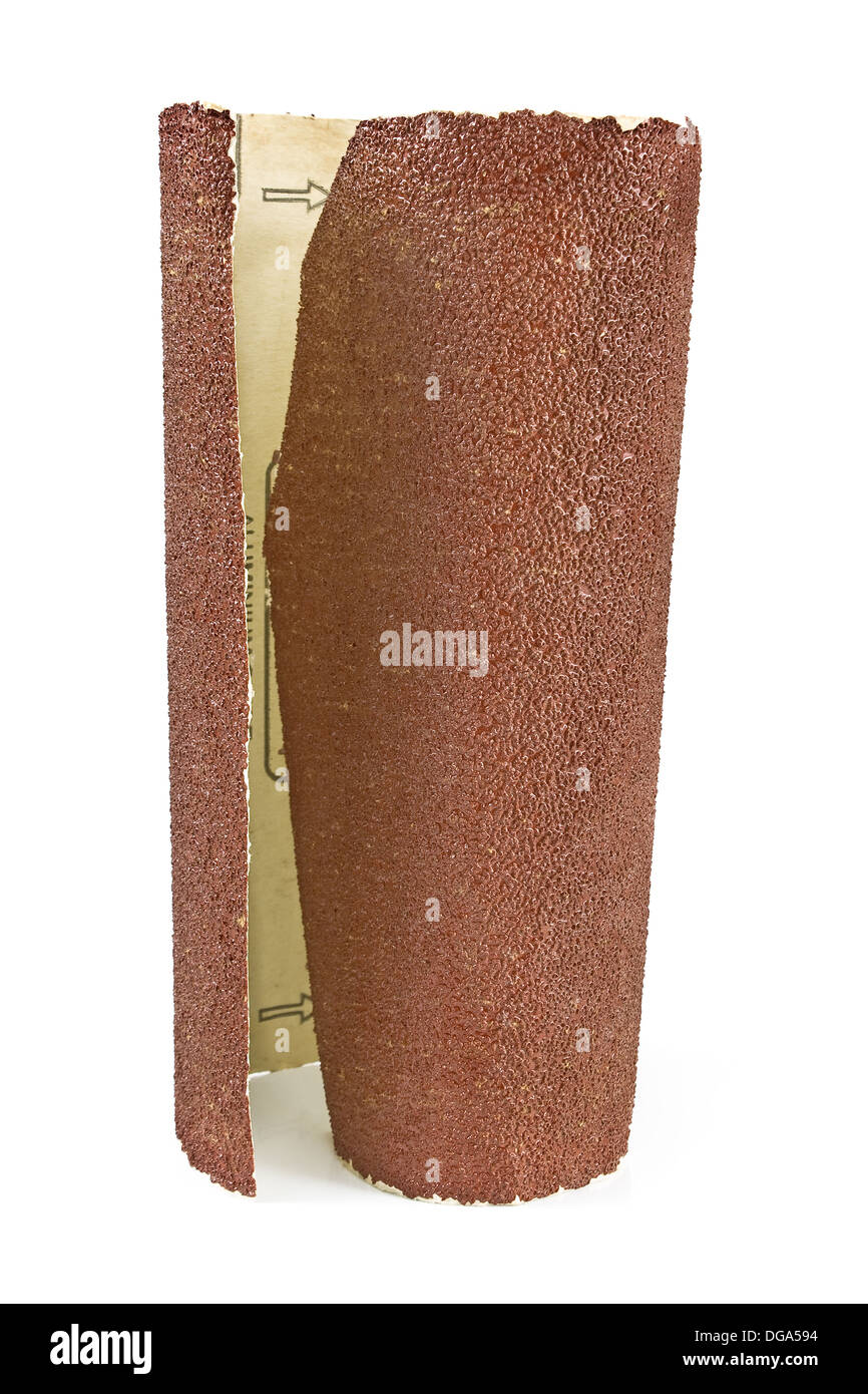 Emery paper - sandpaper isolated on white - Stock Image