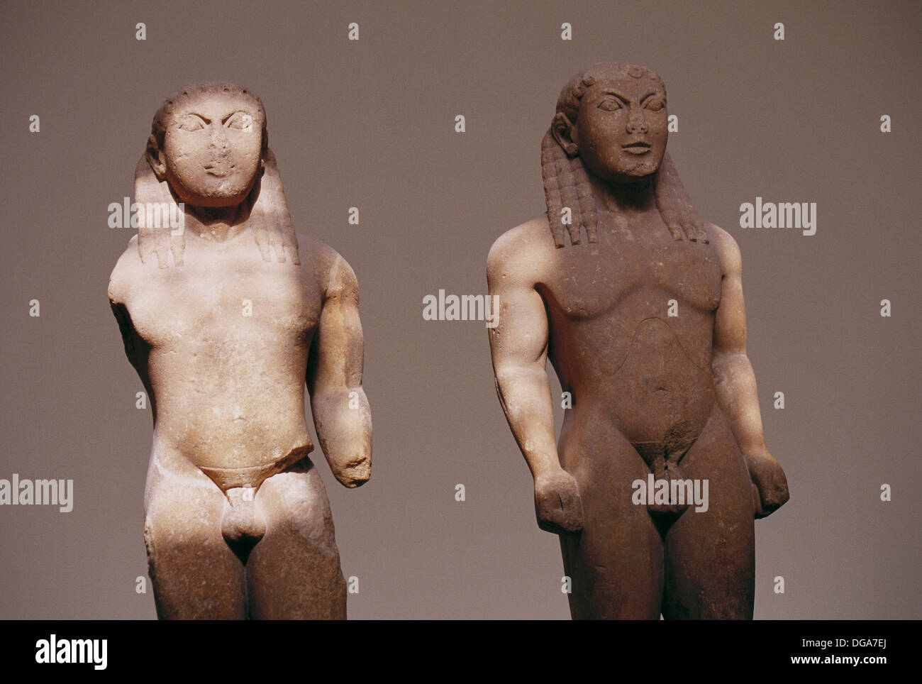 Kleobis and Biton (610-600 B.B.) in the Delphi Archaeological Museum, Greece Stock Photo