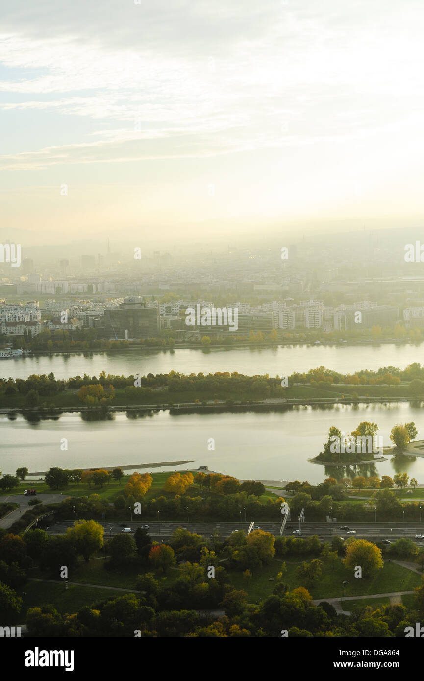 Vienna, skyline, Danube Island, AKH, Austria, 22. District, Donaucity Stock Photo