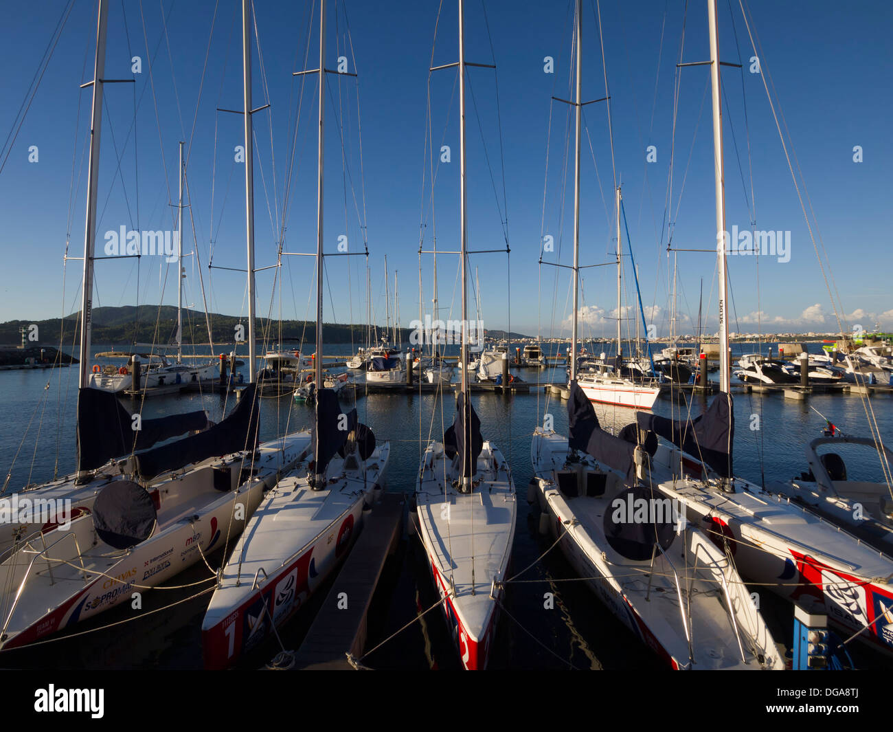 Sailboats anchored in the marina of Tróia, Portugal, Europe - Stock Image
