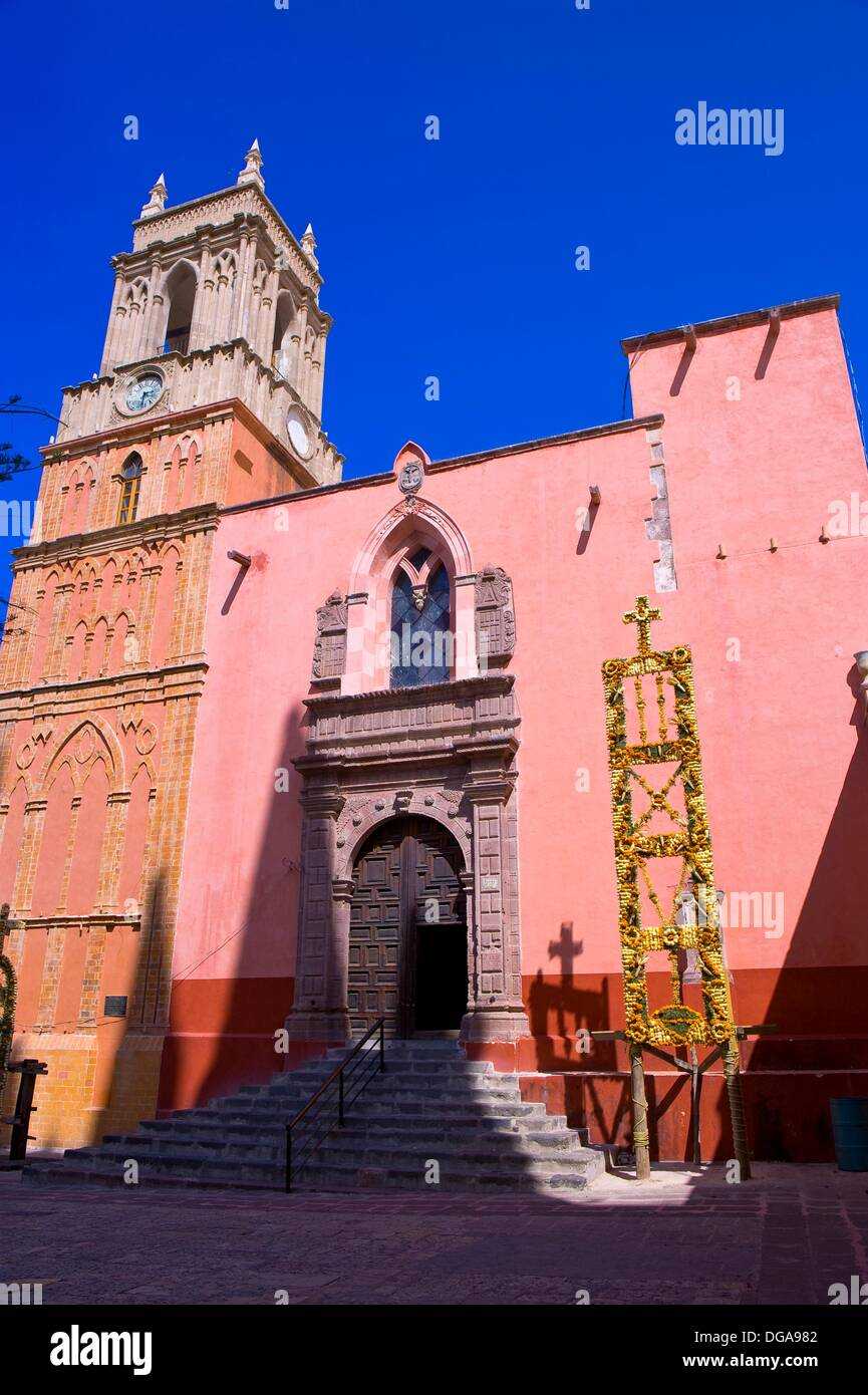 The Church of St  Michael the Archangel decorated with marigolds for La Alborada birthday of San Miguel the Archangel, the - Stock Image