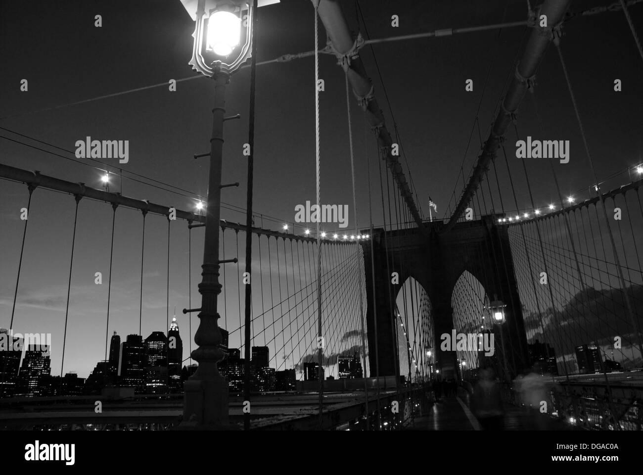 Brooklyn Bridge in the Evening - Stock Image