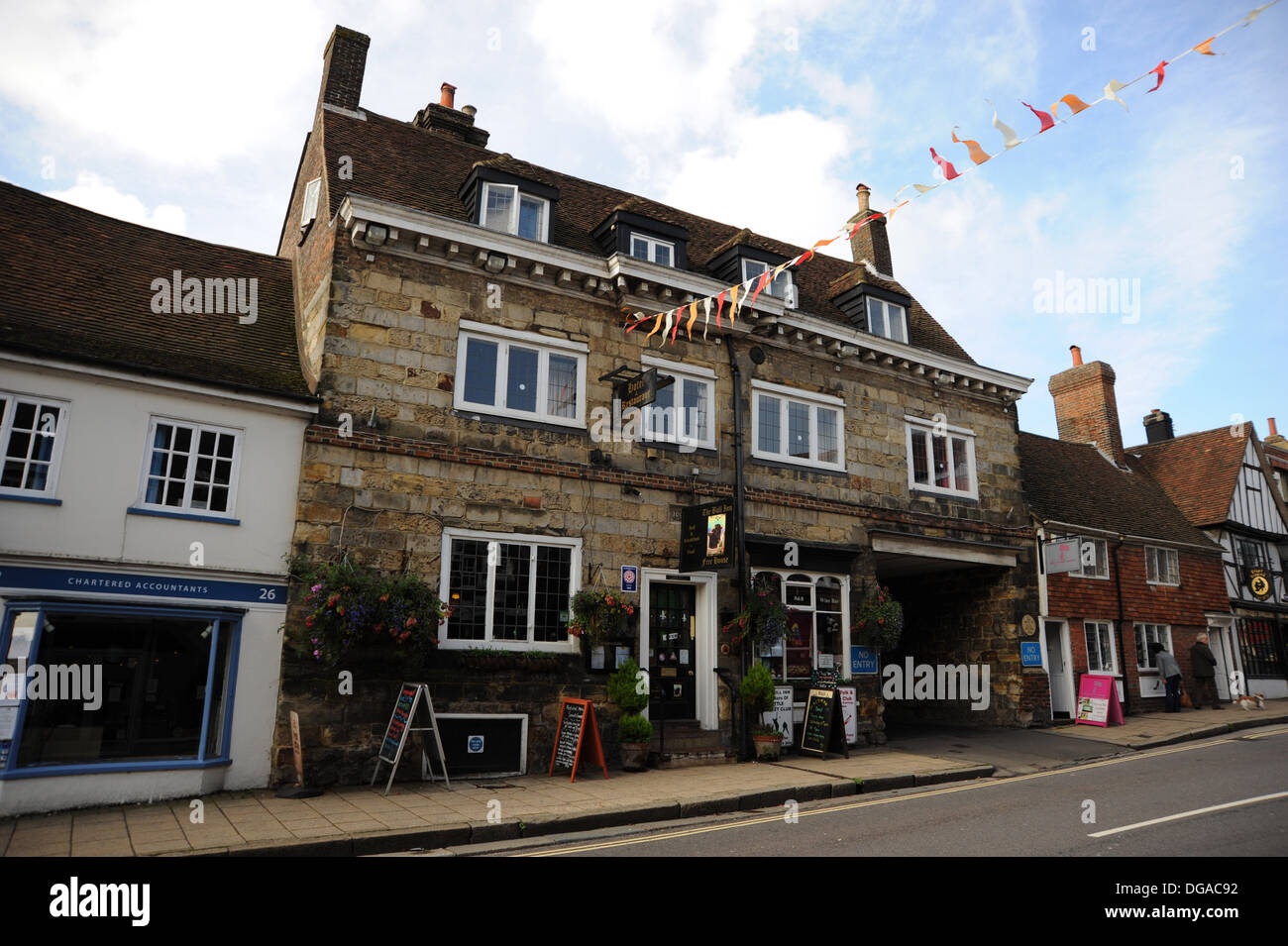 Battle High Street Sussex UK The Bull Inn and Hotel - Stock Image