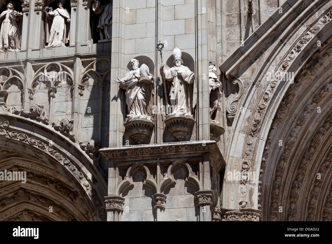 Sculptures at the Primate Cathedral of Saint Mary of Toledo , Spain - Stock Image