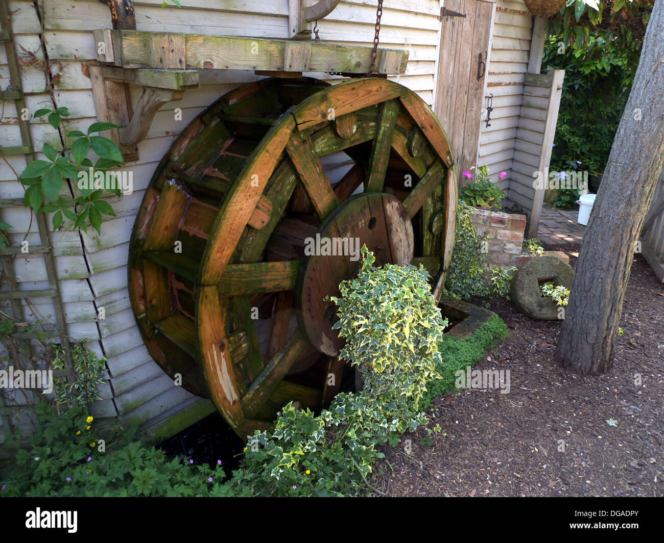 Mock Water Wheel, Garden Feature, Bedfordshire, UK   Stock Image