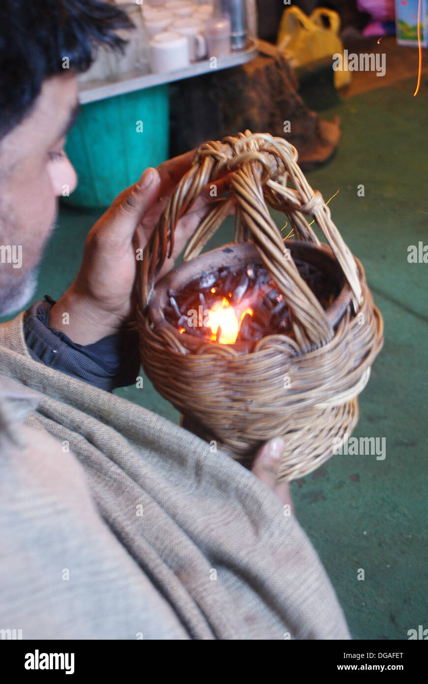 Lighting A Kanger In Pahalgam Kashmir India