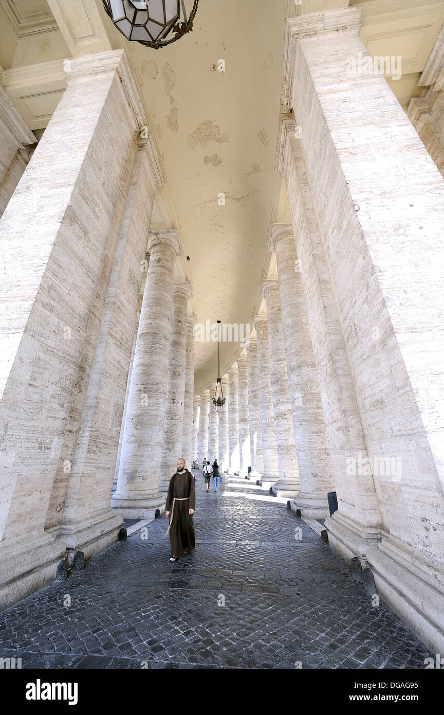 Lateral columns in St. Peter's Square at the Vatican, Rome, Italy - Stock Image