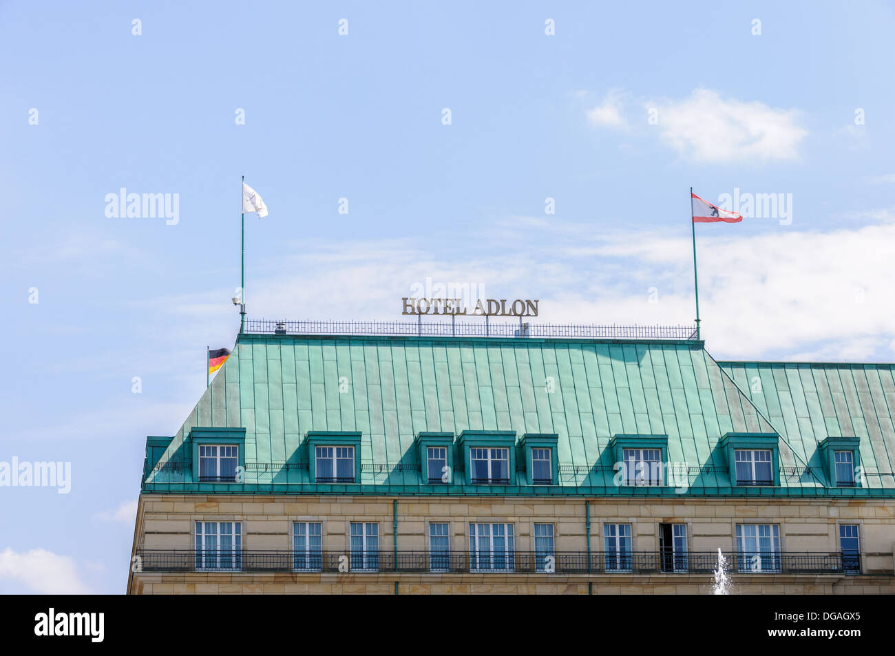 Roof of the Hotel Adlon Kempinski with Berlin and German flag - Pariser Platz, Unter den Linden, Berlin Germany Stock Photo