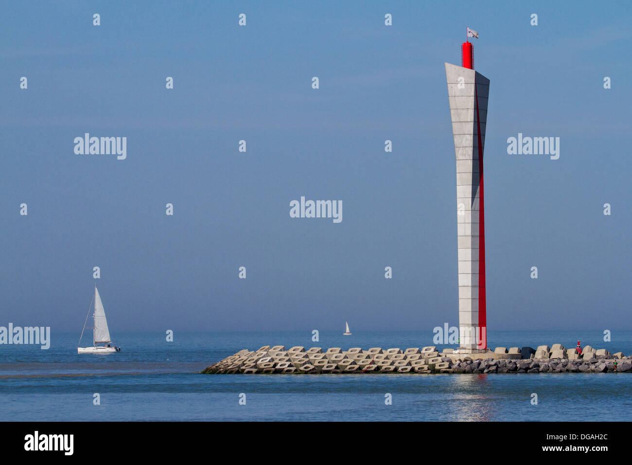 Radar tower on the longitudinal embankment along the North Sea coast at Ostend, Belgium - Stock Image
