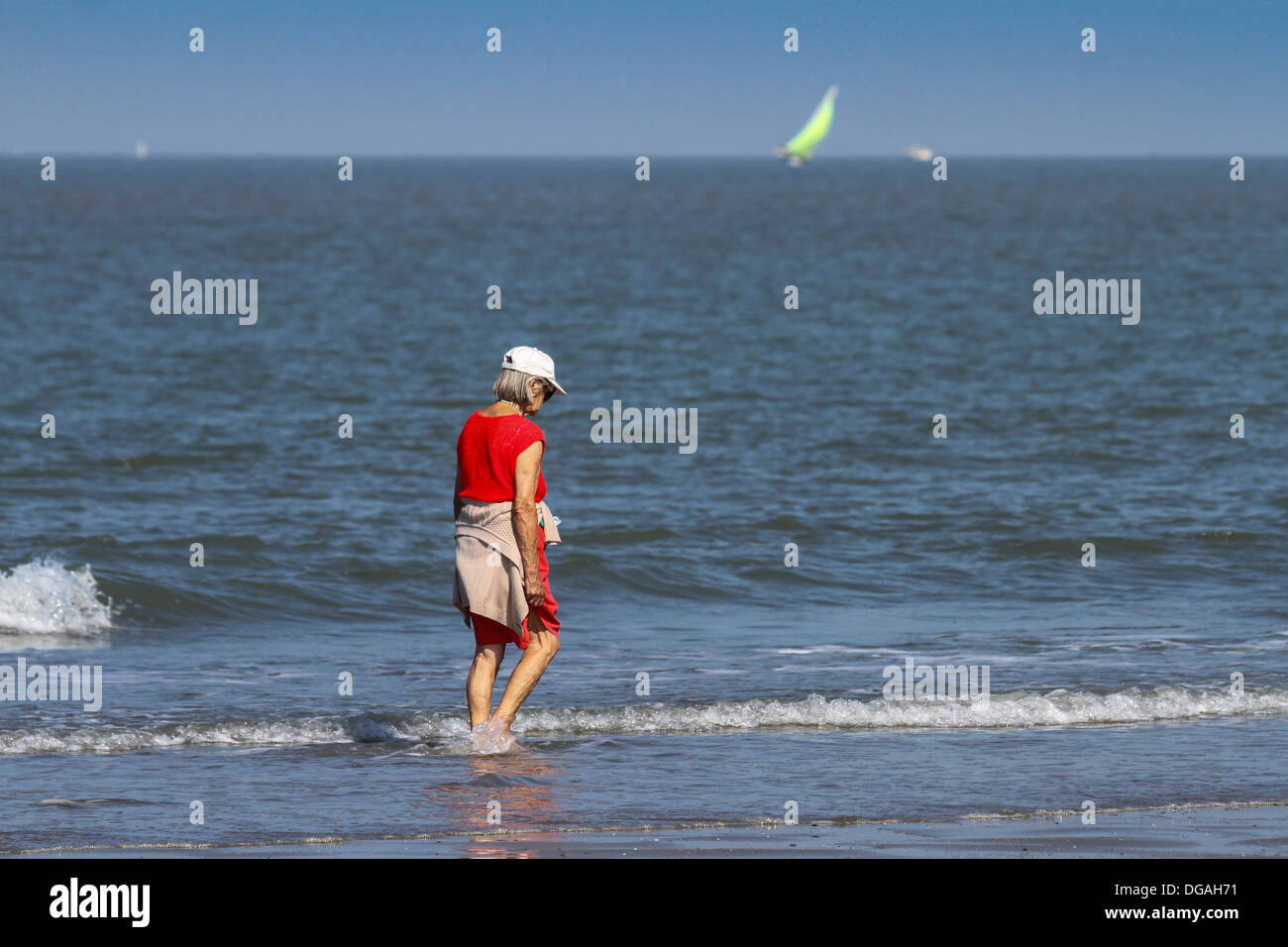 Elderly woman paddling in water of the North Sea along the beach in summer - Stock Image