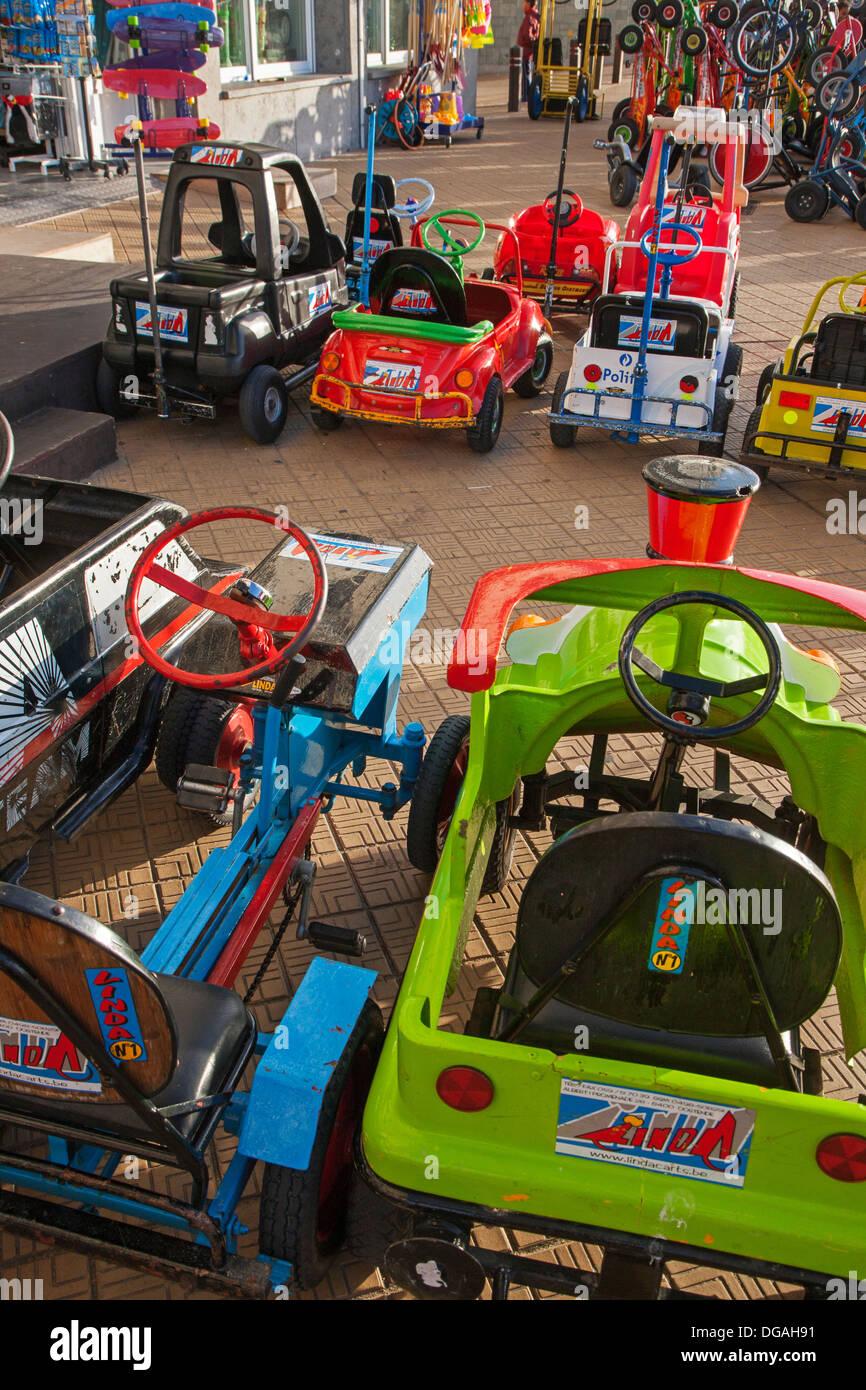 Letter of go-carts on sea dyke promenade along the North Sea coast, Belgium - Stock Image