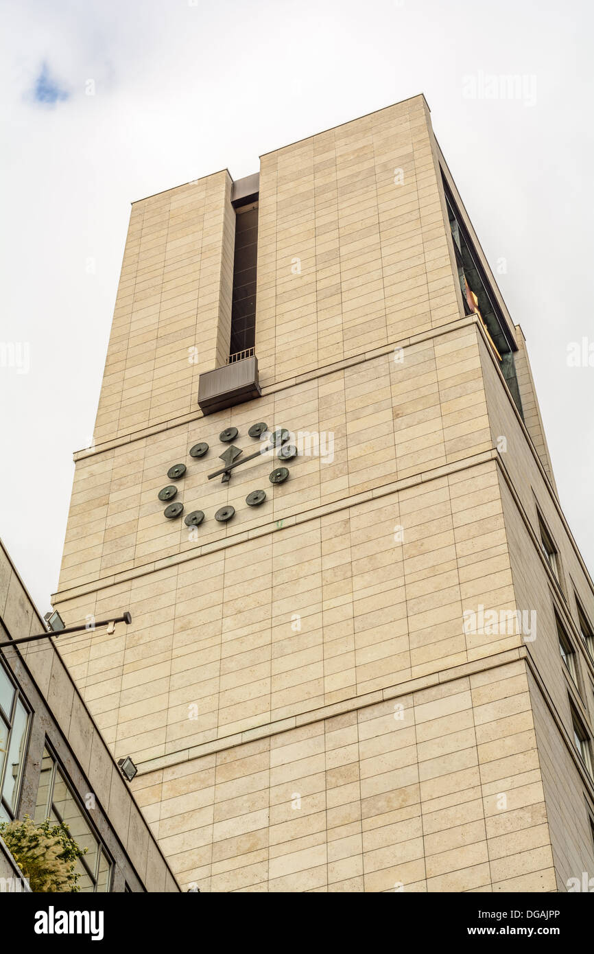 Clock tower of the townhall, city hall, of Stuttgart, South German capital city of Baden-Württemberg Stock Photo